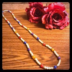 "36"" Costume Pearl and Colored Bead Necklace"